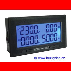 LCD panelový wattmetr měřič spotřeby energie 230 V AC