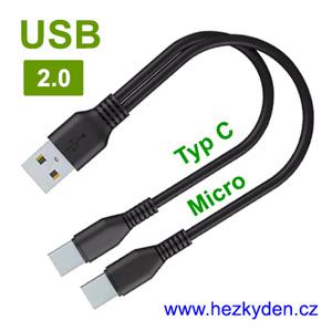 Napájecí kabel USB rozdvojka USB micro Typ C