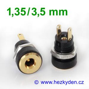 Napájecí konektor 1,35/3,5 mm panelový zlacený