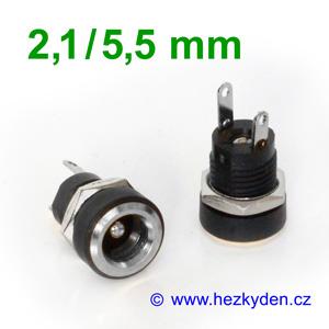 Napájecí konektor 2,1/5,5 mm panelový