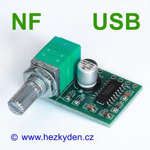 NF zesilovač 2x3W spotenciometrem
