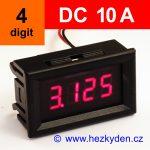 Panelový ampérmetr LED - 4 místa - 10A DC - alarm