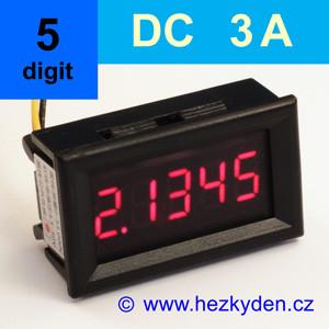 Panelový digitální ampérmetr LED – 5 míst – 3A DC