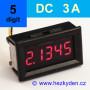 Panelový digitální ampérmetr LED - 5 míst - 3A DC