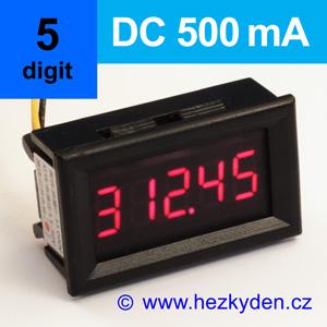 Panelový digitální ampérmetr LED – 5 míst – 500mA DC