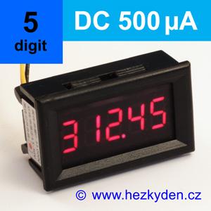 Panelový digitální ampérmetr LED - 5 míst - 500µA DC