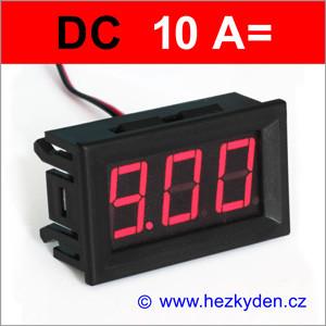 Panelový digitální ampérmetr LED – 3 místa – 10A DC