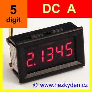 Panelový digitální ampérmetr DC - LED - 5 míst