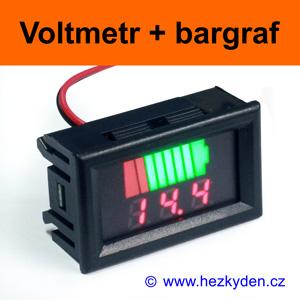 Panelový digitální LED voltmetr bargraf - červený