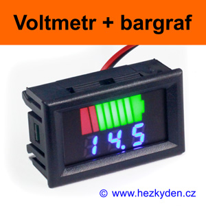 Panelový digitální LED voltmetr bargraf - modrý