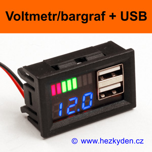 Panelový digitální LED voltmetr bargraf USB - modrý