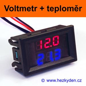 Panelový digitální LED voltmetr teploměr - varianta B