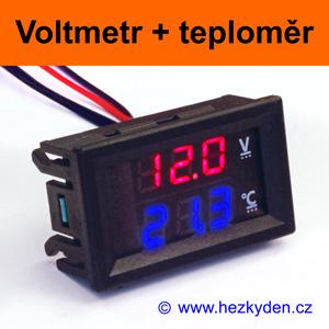 Panelový digitální LED voltmetr teploměr