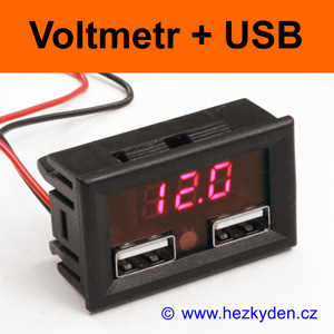 Panelový digitální LED voltmetr s USB