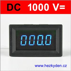 Panelový voltmetr LED - 4 místa - 1000V DC - modrý