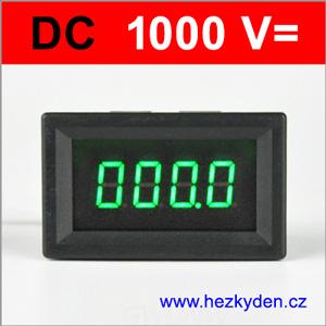 Panelový voltmetr LED - 4 místa - 1000V DC - zelený