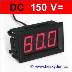 Panelový digitální voltmetr LED 150V DC - 2 vodiče