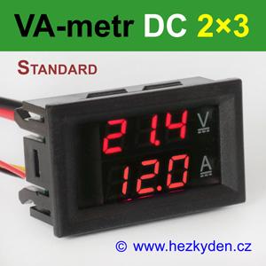 Panelový digitální voltmetr ampérmetr DC 2×3 místa STANDARD červeno-červený