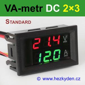 Panelový digitální voltmetr ampérmetr DC 2×3 místa STANDARD červeno-zelený