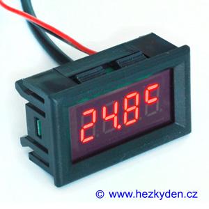Panelový LED teploměr DS18B20 - 4 místa - červený