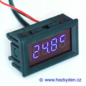 Panelový LED teploměr DS18B20 - 4 místa - modrý