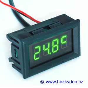 Panelový LED teploměr DS18B20 - 4 místa - zelený