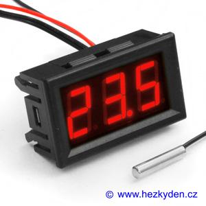 Panelový LED teploměr NTC - 3 místa - červený