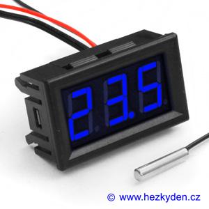 Panelový LED teploměr NTC - 3 místa - modrý