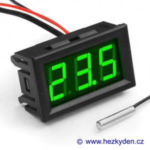 Panelový LED teploměr NTC - 3 místa - zelený