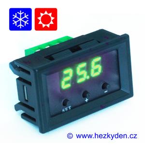 Panelový termostat W1209 zelený