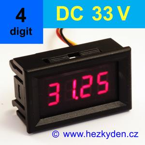 Panelový digitální voltmetr LED - 4 místa - 33V DC