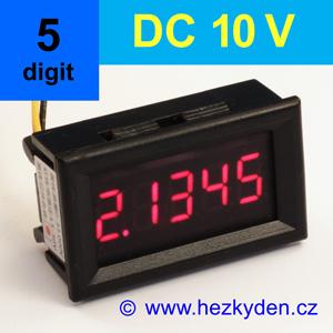 Panelový digitální voltmetr LED - 5 míst - 10V DC