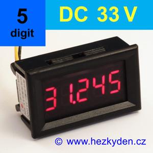 Panelový digitální voltmetr LED – 5 míst – 33V DC