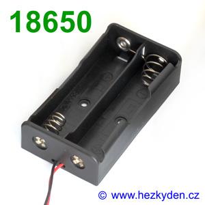 Pouzdro na baterie 2x 18650 sériově