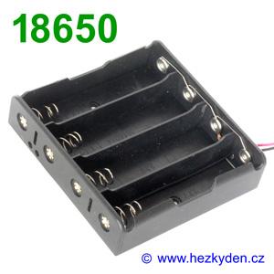 Pouzdro na baterie 4x 18650 paralelně