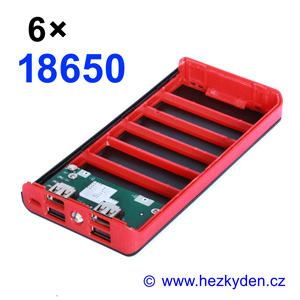 Powerbanka pro 6x Li-Ion 18650