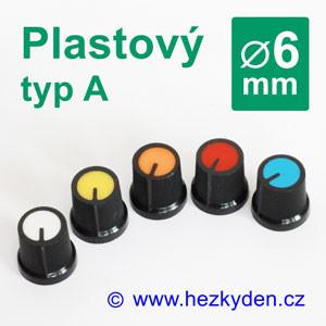 Barevný plastový přístrojový knoflík 6 mm – typ A