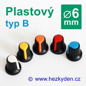 Barevný plastový přístrojový knoflík 6 mm – typ B