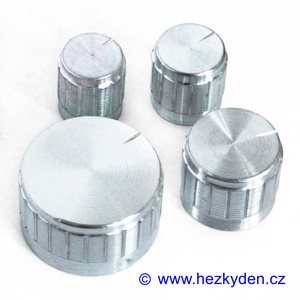 Přístrojový knoflík hliníkový stříbrný 6mm