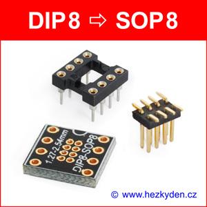 SMD reverzní adapter DIP8 SOP8 - stavebnice