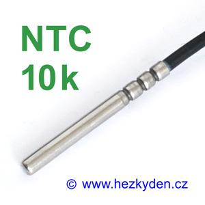 Termistor NTC 10k s kabelem - senzor v nerez stonku - průmyslové provedení