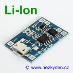USB micro nabíjecí modul LiIon s ochranou