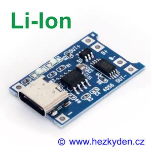 USB typ C nabíjecí modul LiIon s ochranou