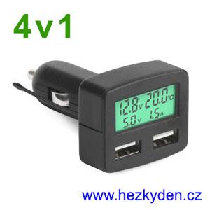 Voltmetr ampérmetr teploměr USB do auta LCD zelený