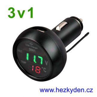 Voltmetr teploměr USB do auta zelený